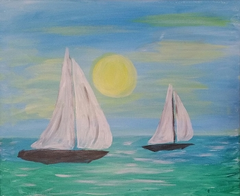 Twin Sails Acrylic Painting on Canvas Art Kit