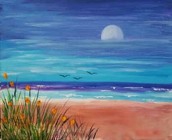 Beach Blossoms  Acrylic Painting on Canvas Art Kit