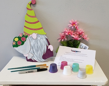 Gnome with Flowers Art Board Kit - Etched and Ready to Paint