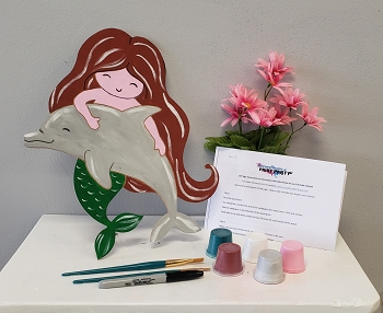Mermaid with Dolphin Art Board Kit- Etched and Ready to Paint