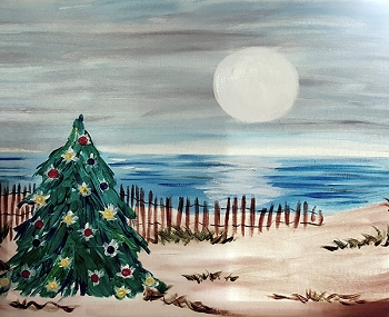 Christmas at the Beach Acrylic Painting on Canvas Art Kit