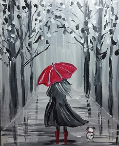 Rainy Day Friends Acrylic Painting on Canvas Art Kit