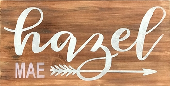 Classic:  Personalized:  Script Arrow Name 18 x 10
