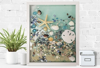 Epoxy Resin Sea Glass Collage - White Frame