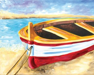 Beached Boat Acrylic Painting on Canvas Art Kit