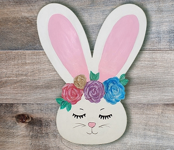 Flower Crown Spring Bunny-Etched and Ready to Paint