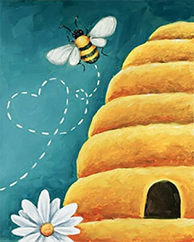Buzzing Home  - Acrylic Painting on Canvas Art Kit