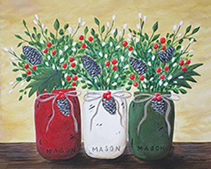 Christmas Mason Jars Acrylic Painting on Canvas Art Kit