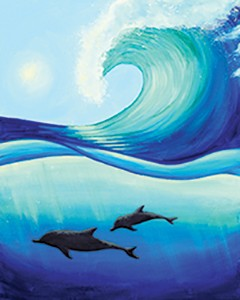 Dolphin Wave Acrylic Painting on Canvas Art Kit
