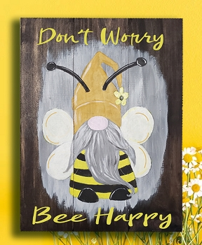 Bee Happy Gnome painted on wood Pallet