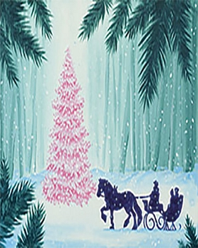 Evening Sleigh Ride Acrylic Painting on Canvas Art Kit