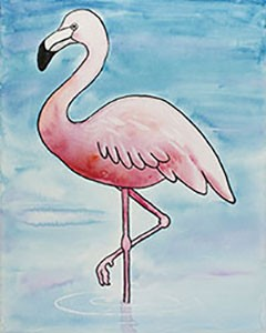Solitary Flamingo Acrylic Painting on Canvas Art Kit