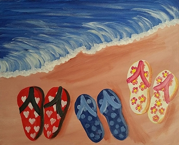 Flip Flops Forever - Acrylic Painting on Canvas Art Kit