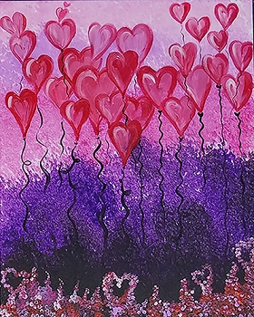 Floating Hearts Acrylic Painting on Canvas Art Kit