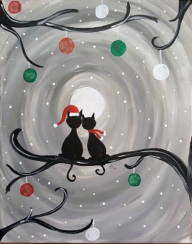 Holiday Kitties Acrylic Painting on Canvas Art Kit