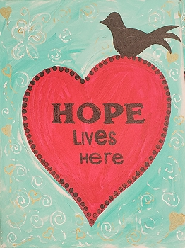 Hope Lives Here Acrylic Painting on Canvas Art Kit