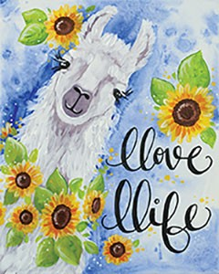 I love LLama  Acrylic Painting on Canvas Art Kit