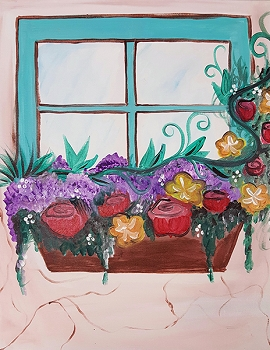 Lovely Window Acrylic Painting on Canvas Art Kit