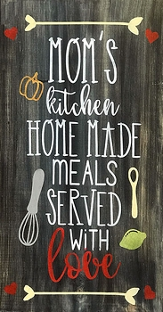Classic:  Moms Kitchen Home Made Meals Made with Love 18 x 10