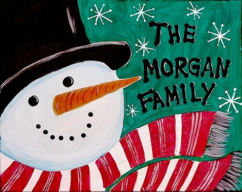 Family Snowman Acrylic Painting on Canvas Art Kit