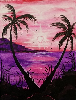 Tropical Heart Acrylic Painting on Canvas Art Kit