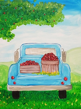 Picking Apples Acrylic Painting on Canvas Art Kit