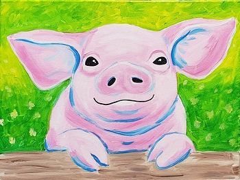Poppy the Pig Acrylic Painting on Canvas Art Kit