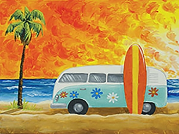 Retro Beach Acrylic Painting on Canvas Art Kit