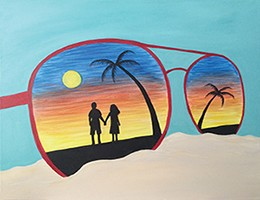 Sun and Sunglassses Acrylic Painting on Canvas Art Kit