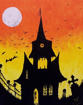 Spook House Acrylic Painting on Canvas Art Kit