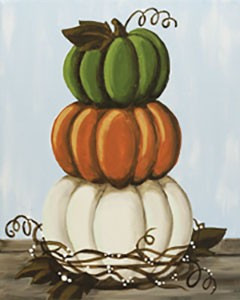 Stacked Pumpkins Acrylic Painting on Canvas Art Kit