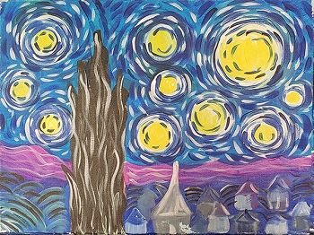 Starry Night Acrylic Painting on Canvas Art Kit