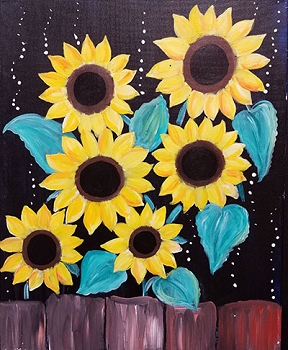 Midnight Sunflowers Acrylic Painting on Canvas Art Kit