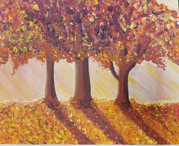 Autumn Shadows Acrylic Painting on Canvas Art Kit