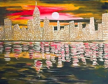 Sunset City Acrylic Painting on Canvas Art Kit