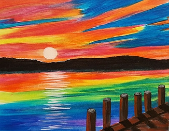 Sunset Dock Acrylic Painting on Canvas Art Kit