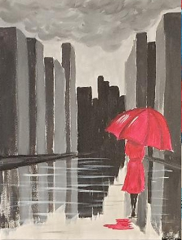 The Red Umbrella Acrylic Painting on Canvas Art Kit