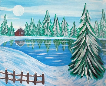 Winter Retreat Acrylic Painting on Canvas Art Kit