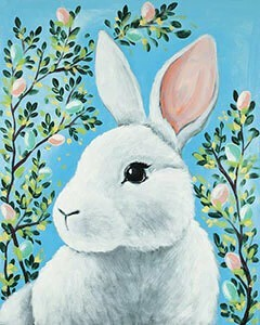 Hidden Bunny  - Acrylic Painting on Canvas Art Kit