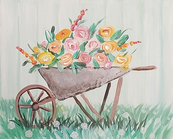 Wheel Barrow Acrylic Painting on Canvas Art Kit