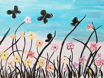 Butterflies in Flight Acrylic Painting on Canvas Art Kit