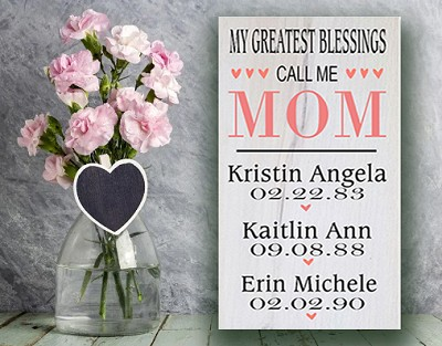 Personalized:  My Greatest Blessings call me Mom - Birthday Board
