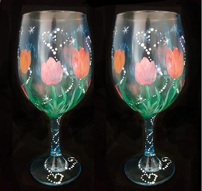 Sparkling Tulips  Wine Glasses - Set of 2