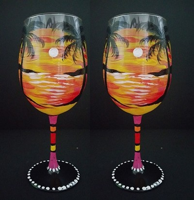 Warm Days Tropical Sunset Wine Glasses - Set of 2