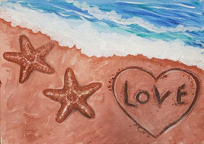 Beach Heart Acrylic Painting on Canvas Art Kit