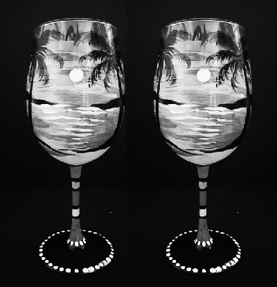 Warm Days - Black and White Wine Glasses - Set of 2