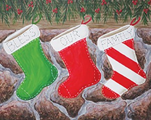 Christmas Stockings Acrylic Painting on Canvas Art Kit