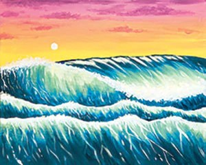 Electric Ocean Sunset  - Acrylic Painting on Canvas Art Kit