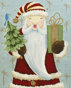 Father Christmas Acrylic Painting on Canvas Art Kit