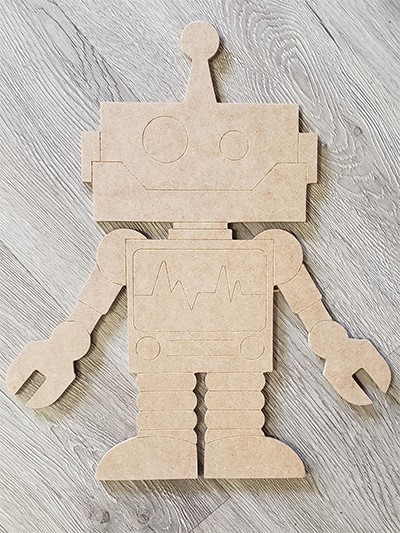 DIY Home Kit: Medium Robot Art Board Kit - Etched and Ready to Paint